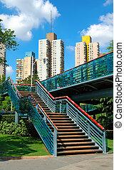 escalier, overbridge, parc