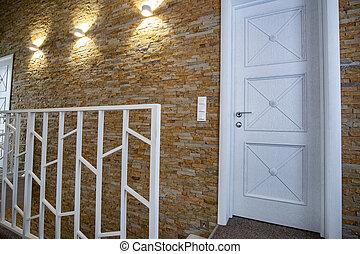 escalier, portes, maison, salle moderne, spacieux, intérieur, style., contemporain, balustrade, couloir