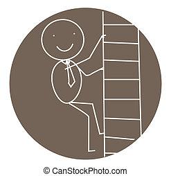 escalier, reussite, homme affaires