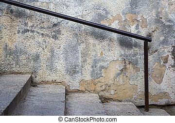 escalier, vieux, béton, balustrade