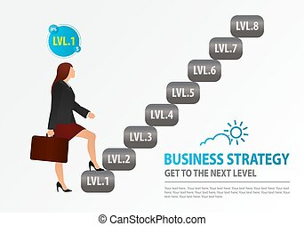 escaliers., équilibre femme, wealth-building, opportunities., business, montée, logo, concept, stratégie, croissance, reussite, formation, business, débuts, débutant