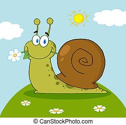escargot, sien, bouche, fleur