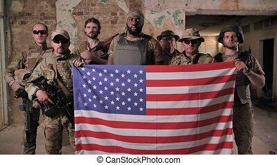 escouade, tenue, divers, drapeau, hommes, usa, militaire