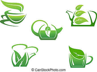 espèce, tasses, vert