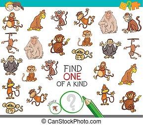espèce, trouver, singe, caractères, une