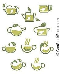 espèce, vert, icônes