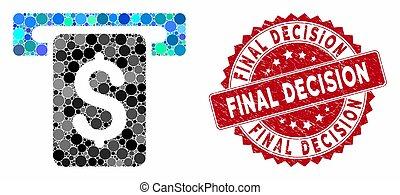 espèces, décision, retirer, timbre, mosaïque, final, détresse