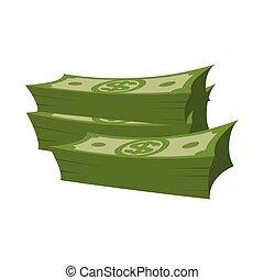 espèces., dollars, arrière-plan., tas, argent, pile, isolé, blanc, lot