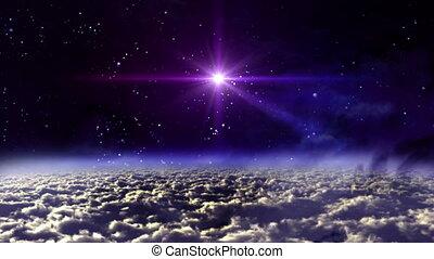 espace, étoile, croix, nuit