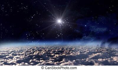 espace, étoile, jaune, nuit