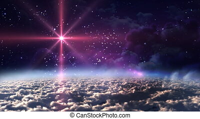 espace, étoile, rouges, nuit