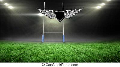espace, animation, stade, rugby, emblème, champ, sports, sur, copie
