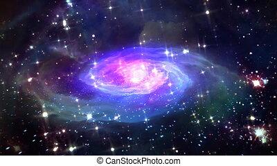 espace, bleu, galaxie