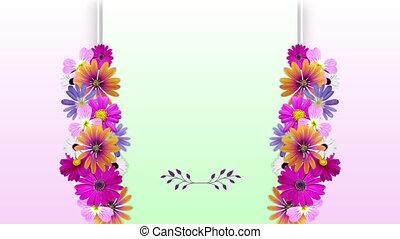 espace, central, croissant, coloré, rose pâle, animation, copie, cadre, fleurs, vert