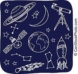 espace, ciel, -, objets, nuit, astromomie