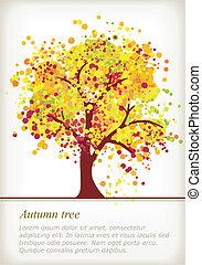 espace, coloré, automne, arbre