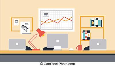 espace de travail, collaboration, bureau, illustration
