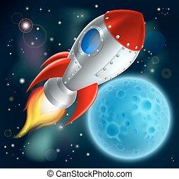 espace, dessin animé, bateau, fusée