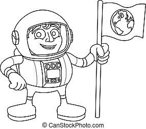 espace, drapeau, astronaute, tenue, dessin animé, homme