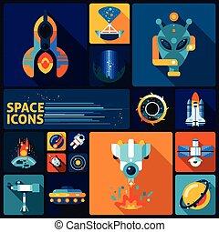 espace, ensemble, plat, icônes