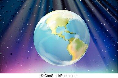 espace, extérieur, scène, la terre