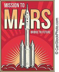espace extérieur, vendange, mars, affiche, projet, arrière-plan., vecteur, aventure, univers, voyage