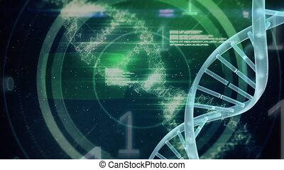 espace, fond, numérique, adn, molécule