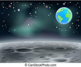 espace, lune, 2013, fond, la terre, c5