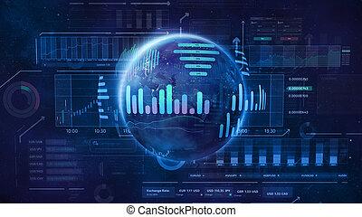 espace, marché, échange, illustration, sujet, trading., mondiale