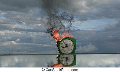 espace, miroir, reveil, vieux, vert, horloge, retro, brûlé