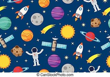 espace, modèle, -, seamless, astronautes, planète, vecteur, illustration, fond, galaxie
