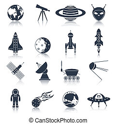 espace, noir, icônes