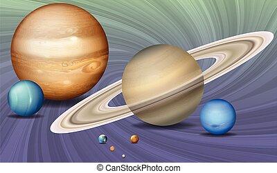 espace, planètes