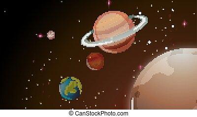espace, planètes, scen