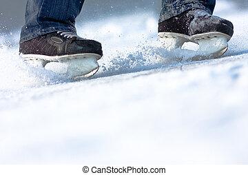espace, rupture, glace, abondance, patins, copie