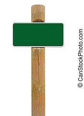 espace, signe métal, fond, vert, planche, signage, blanc, copie