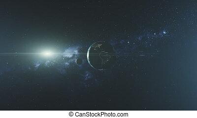 espace, soleil, orbite, lune, planète, faisceau, la terre, filer, lueur