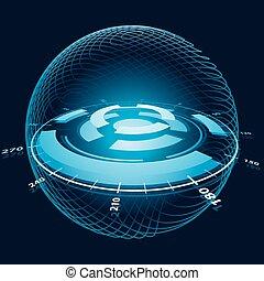 espace, sphere., illustration, fantasme, vecteur, navigation