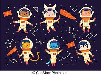 espace, suits., animal, astronautes, ensemble