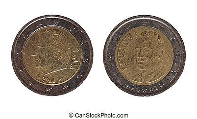espagne, monnaie, belgique, europe, euro, 2