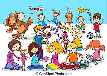 espiègle, groupe, enfants, caractères, dessin animé