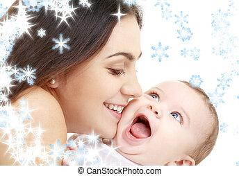 espiègle, maman, heureux, bébé