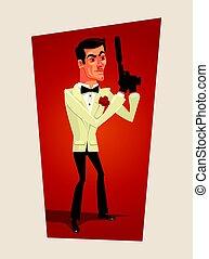 espion, plat, character., agent, top secret, vecteur, illustration, homme souriant, dessin animé, beau