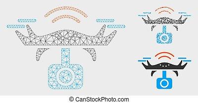 espion, triangle, réseau, maille, bourdon, vecteur, modèle, mosaïque, icône