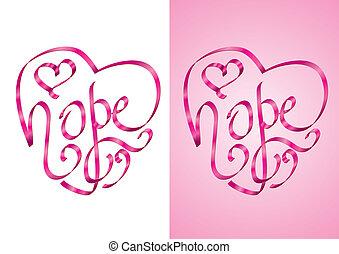 espoir, -, conscience, cancer, poitrine