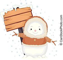 esquimau, homme, neige, illustration, signage