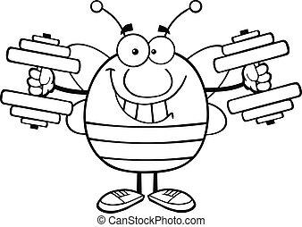 esquissé, dumbbells, abeille