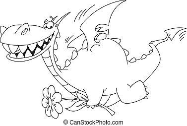 esquissé, fleur, dragon