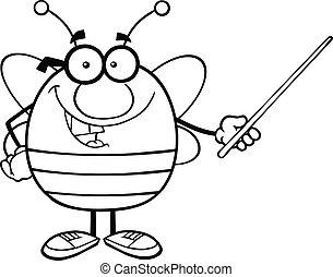 esquissé, indicateur, tenue, abeille