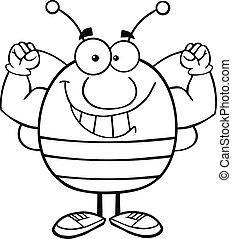 esquissé, muscle, projection, bras, abeille